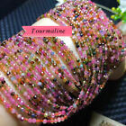 "Natural HighQuality Faceted Multicolor Tourmaline Round Beads15"" Strand 2mm-7mm"
