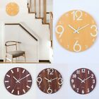 12Inch Luminous Wall Clock Wooden Silent Non-Ticking With Night Light Room Decor
