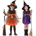 Toddler Kids Girls Witch Costume Cosplay Party Dress + Hat Clothes Fancy Outfit