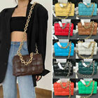 Padded Woven Real Leather Silver/ Gold Metal Chain Shoulder Bag Crossbody Clutch