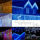 26FT 192 LED Curtain Icicle String Fiary Lights Garland Christmas Decor Outdoor