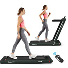 Goplus 2 in 1 Folding Treadmill, 2.25HP Under Desk Electric Treadmill Home Use