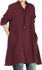 Mordenmiss Women's New Cotton Linen Full Front Buttons Jacket Outfit with Pocket
