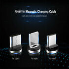 US 2.4A Flowing Light LED Magnetic Cable Micro USB Cable IOS USB C Fast Charging