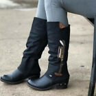 Womens Low Block Heel Mid Calf Boots Ladies Zip Up Riding Boots Pocket Boots