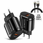 3A Fast Charger with Type-C USB Cable for Huawei P40 Mate 30 Pro Samsung Note 20