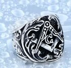 Men Hip Hop/ Punk Fashion Masonic Silver Titanium Stainless Steel Ring 8-12
