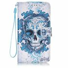 Blue Clouds Skull Flip Leather Wallet Case Cover Stand Card Slot For Cell Phones