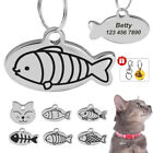 Personalized Cat ID Tag Fish Shape Name Number Engraved for Free Stainless Steel