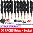 LOT Pack 12V 30/40 Amp 5-Pin SPDT Automotive Relay With Wires Harness Socket Set