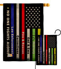 No One Fights Alone Burlap Garden Flag Service Armed Forces Yard House Banner