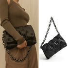 Quilted Padded Faux Leather Silver Chain Shoulder Bag Baguette Flap Purse