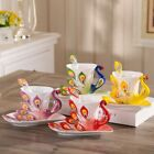 Creative 3D Peacock Coffee Cup with Dish Spoon Chinese Porcelain Tea Cup Set