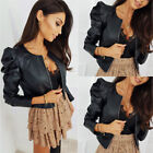 'Womens Ladies Pu Leather Biker Jacket Cardigan Short Coat Zipper Up Cropped Tops