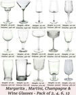 Martini Margarita Cocktail Champagne Saucers Wine Beer Crystal Drinking Glasses