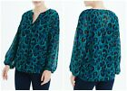 BNWT  Matalan SOON Teal Long Sleeve Animal Print Blouse (QD)