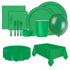 Disposable Emerald Green Paper Cups Plates Napkins Tableware Party
