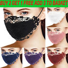 US Adult Delicate Lace Applique Washable and Reusable Mouth Face Mask Facemask