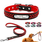 Fashion Braided Personalized Dog Collar and Leash Set Pink Blue Red XS S M L XL