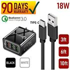 18W 3-USB Port Wall Charger + Type-C Cable For Android Smart Phones Tablets [Q1