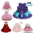 Kids Girls Flower Rainbow Princess Lace Birthday Party Wedding Tutu Dress