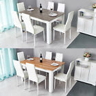Wood Dining Table Set with 6 Faux Leather Chairs Seat Kitchen Home Furniture