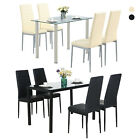 5 Piece Dining Table Set Glass Metal 4 Chairs Kitchen Room Furniture Black/Beige