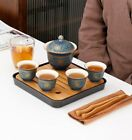 Chinese Travel Ceramic Creative Gaiwan Teaset Portable Tea set with 1 pot 4 cups