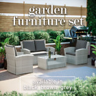 Rattan Garden Patio Furniture Chairs Cushion Bench Dining Table Outdoor 4 Seats