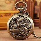 Steampunk Hollow Fish Men's Pocket Watch Manual Mechanical Watches FOB Chain