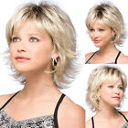Synthetic Natural Short Curly Wig For Women Ombre Blonde Bob Wavy Full Hair Wig
