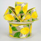 "Lemons on Beige Canvas 2.5"" Wire Edge Ribbon (2 LENGTHS) Wreath*Bow*Baskets*"