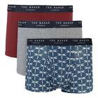 Ted Baker 3 Pack Patterened Trunks - Insignia Blue Maide / Heather Grey / Cordov