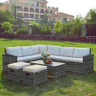 Outdoor 8 Seaters Rattan With Table Dining Furniture Set Corner Sofa Garden Uk
