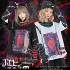 soft grunge punk death strawberry layered look striped tee w/ arm warmer JJ2346