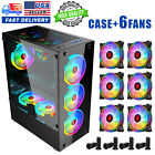 USA ATX Mid Tower Gaming Computer Case 6 RGB LED Fans 2 Translucent Tempered