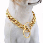 12-36inch 15mm Gold 316L Stainless Steel Flat Curb Cuban Link Dog Chain Collar