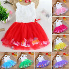 Toddler Infant Bowknot Tutu Petals Tulle Dresses Baby Girls Flower Gown Outfits