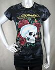 ED Hardy Womens Skull & Roses Allover TATTOO T Shirt  black