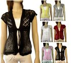Ladies Crochet Knit Cardigan with Short Sleeves Sz AU 6 8 10 Bolero Shrug NEW