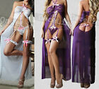 White & Purple Sexy Lingerie Babydoll Long Gowns Chemise Teddy Bodysuit Garter