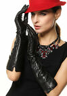 Womens long GENUINE LEATHER opera gloves black 3 lines