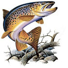 MONSTER BROWN TROUT  FISHING T-SHIRT LONG SLEEVE
