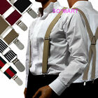 "Mens Braces adjustable Elastic clip-on Suspenders "" X "" Shape"