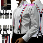 "Mens Men Man Braces adjustable Elastic 6 clip-on Suspenders "" Y "" Shape"