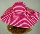 LADIES 15cm WIDE BRIM FLOPPY RACE GARDEN SUN CAP HAT CRUSHABLE packable Striped