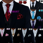 Mens Tuxedo Cravat tie Hanky Cufflinks set 8 Solid Plain Colour PICK YOUR CHOICE