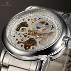 KS Skeleton Dial Steel Case Mens Automatic Mechanical Stainless Wrist Watch +Box