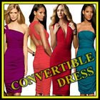 VICTORIA'S SEXY RUCHED CONVERTIBLE MINI DRESS multi way bridesmaid FREE SHIPPING