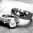 3 his and hers TITANIUM and STERLING SILVER wedding bridal matching ring set new